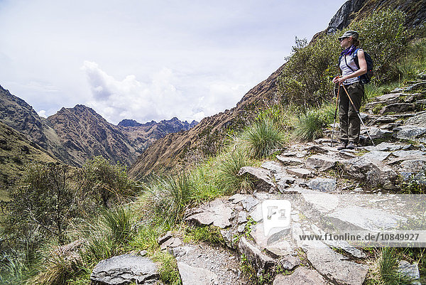 Hiking on Inca Trail Trek day 2  Cusco Region  Peru  South America