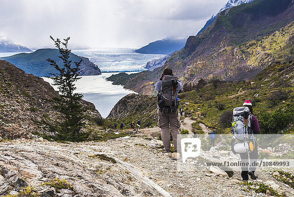 Hiking at Grey Glacier (Glaciar Grey)  Torres del Paine National Park  Patagonia  Chile  South America