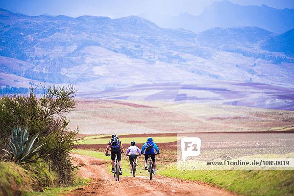 Cusco (Cuzco)  cycling in the countryside near Maras  Cusco Province  Peru  South America