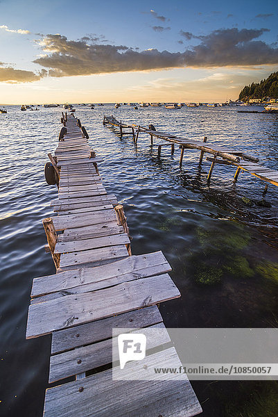 Lake Titicaca pier at sunset  Copacabana  Bolivia  South America