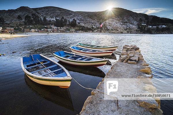 Boats in the harbour on Lake Titicaca at Challapampa village  Isla del Sol (Island of the Sun)  Bolivia  South America