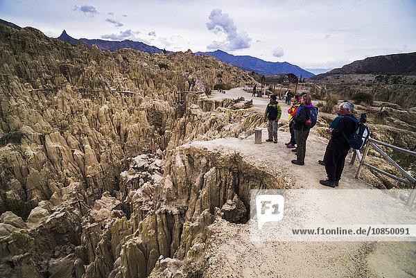 Tourists at Valle de la Luna (Valley of the Moon)  La Paz  La Paz Department  Bolivia  South America
