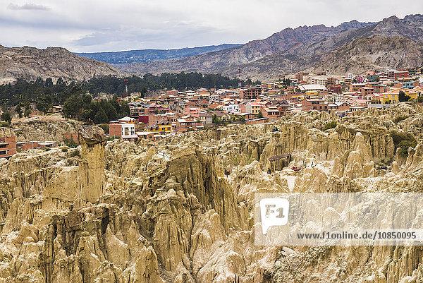 Valle de la Luna (Valley of the Moon) and houses of the city of La Paz  La Paz Department  Bolivia  South America