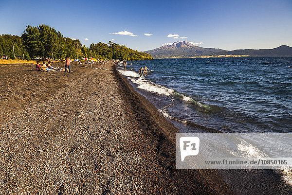 Calbuco Volcano  seen from a beach on Llanquihue Lake  Chilean Lake District  Chile  South America