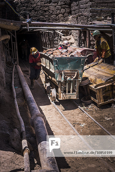 Miners mining at Potosi silver mines  Department of Potosi  Bolivia  South America