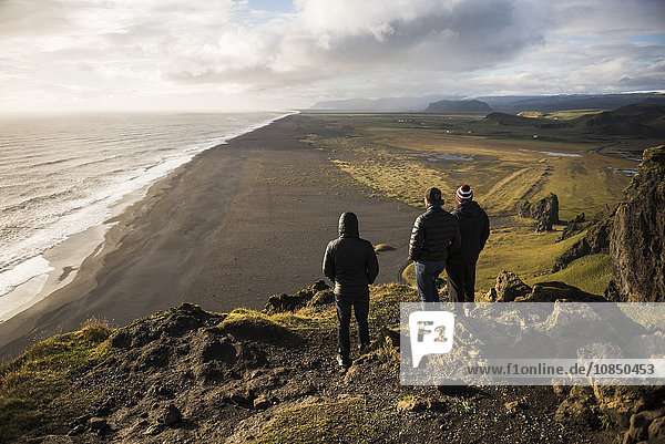 Tourists looking at the view at sunset from Dyrholaey Peninsula  near Vik  South Iceland (Sudurland)  Iceland  Polar Regions