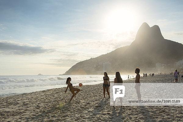 People playing altinha (football) on Ipanema beach  Rio de Janeiro  Brazil  South America