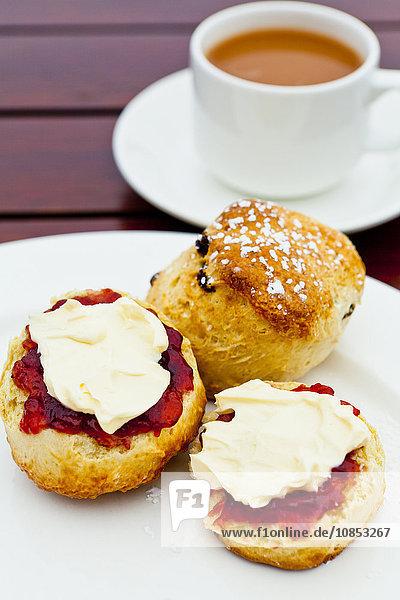Cream tea  Cornwall  England  United Kingdom  Europe