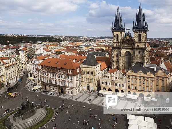 Old Town Square (Staromestske Namesti) and Tyn church  Prague  Czech Republic  Europe