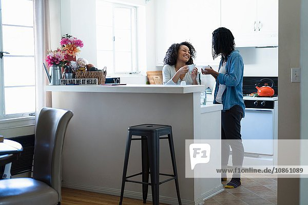 Lesbisches Paar in der Küche  Kaffee trinkend