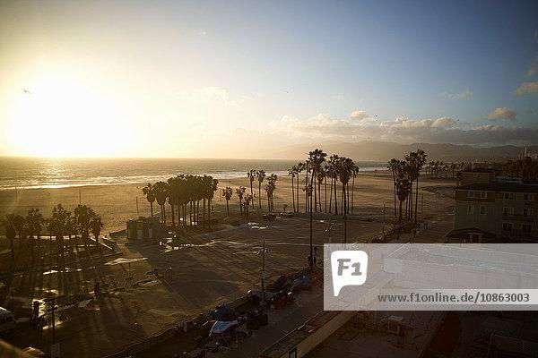 Overhead view of Venice Beach  Los Angeles  USA