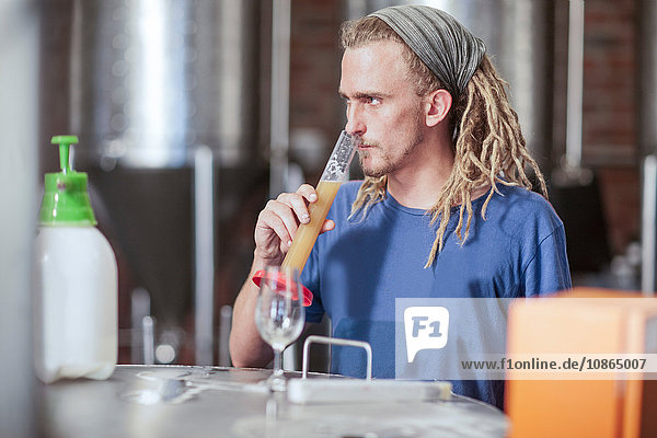 Man in microbrewery quality checking craft beer