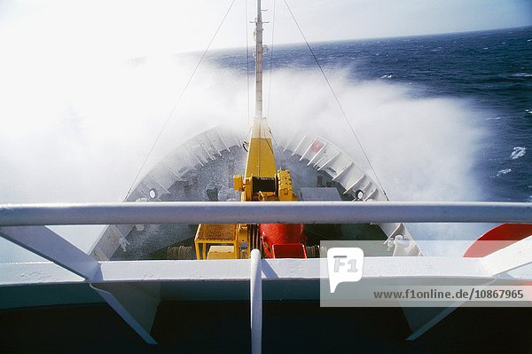 View of ship crossing the drake passage on the way to the Antarctic Peninsula  Antarctica