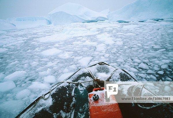 Zodiac Inflatable craft moving through ice flow  icebergs  Antarctic Peninsula  Antarctica