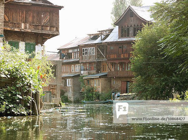 Houses built on Lake Dal  Srinigar  Kashmir  India
