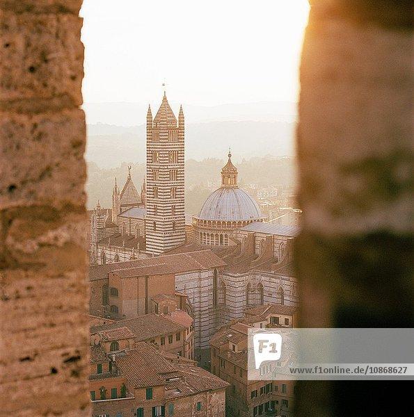 Ansicht der Domkirche vom Turm auf der Piazza Del Campo  Siena  Toskana  Italien
