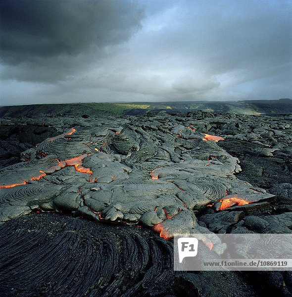 A lava flow at an active volcano in Hawaii Volcanoes National Park  Hawaii  USA