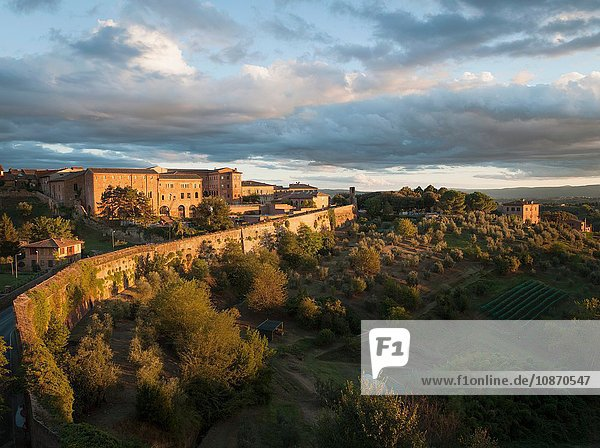 Apartment buildings and landscape on the outskirts of the medieval city of Siena  Tuscany  Italy