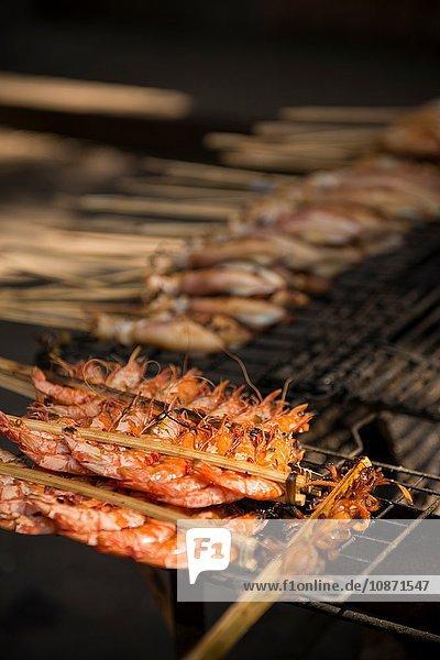 BBQ Stalls at Crab Market  Kep  Kep Province  Cambodia  Indochina  Asia