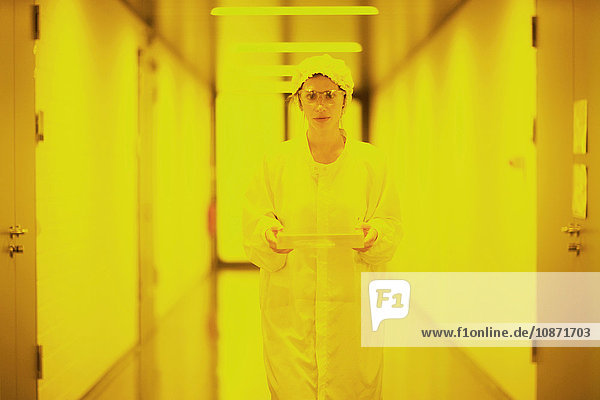 Scientist in holographic laboratory