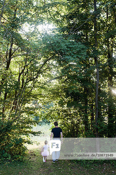 Father and daughter walking through forest  rear view