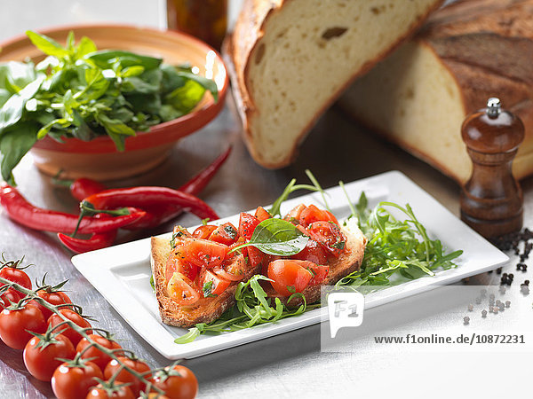 Traditional Italian meal of Bruschetta Pugliese