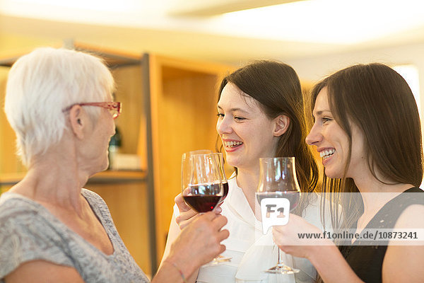 Women holding glasses of red wine making a toast