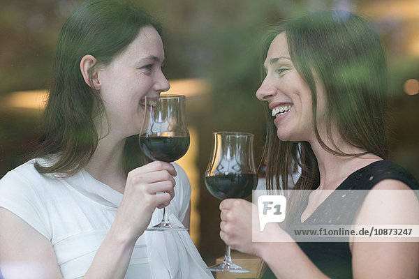View through window of young women holding wine glasses face to face smiling