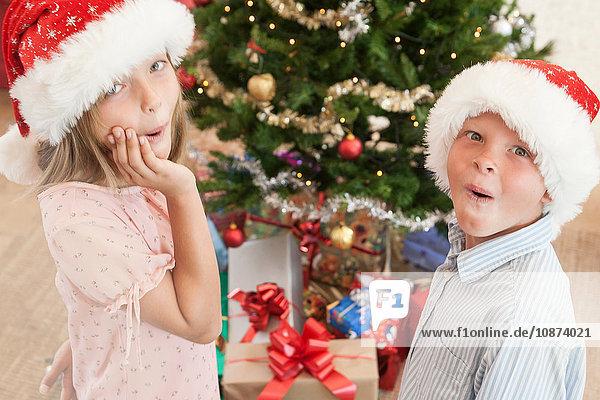 Mädchen und Junge mit Weihnachtsmannhüten vor dem Weihnachtsbaum  die aufgeregt in die Kamera schauen