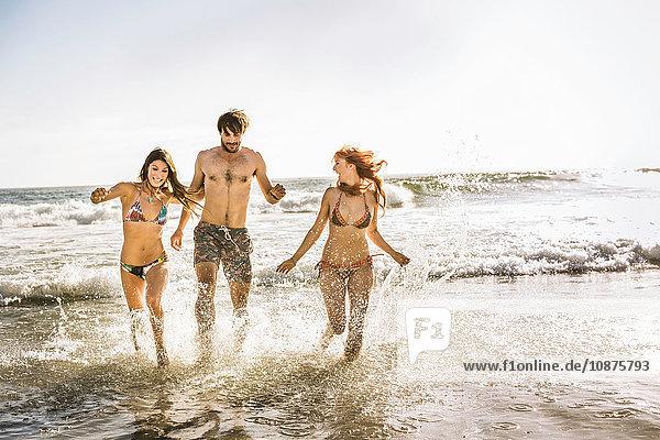 Drei erwachsene Freunde in Bikini und Badeshorts laufen im Meer  Kapstadt  Südafrika