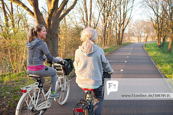 Rear view of women cycling on tree lined road