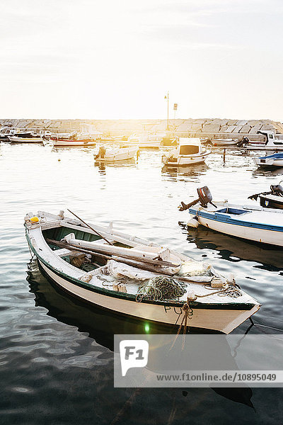 Kroatien  Istrien  Ruderboot in der Marina bei Sonnenuntergang