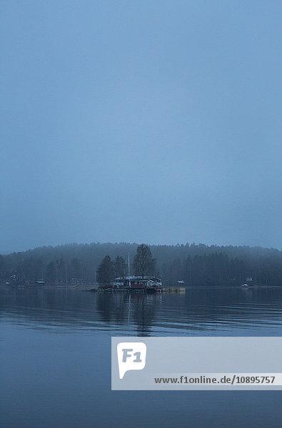 Schweden  Medelpad  Juniskar  Blick auf das Flussufer im Nebel