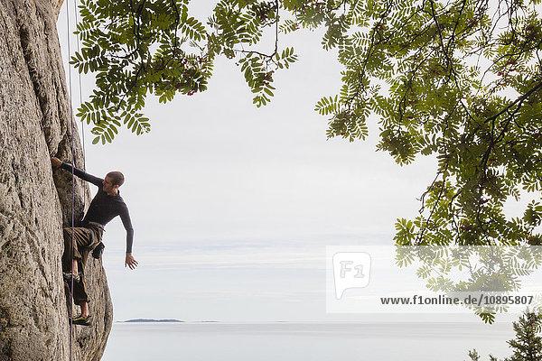 Schweden  Medelpad  Sundsvall  Essvik  Brattberget  Mid adult man climbing cliff