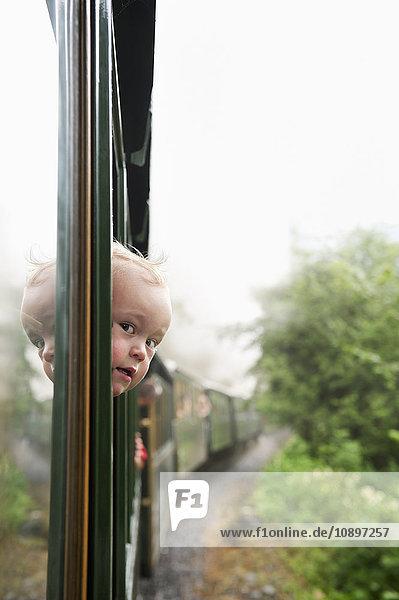 Österreich  Junge (2-3) schaut durchs Zugfenster