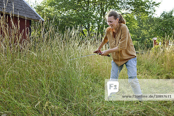 Schweden  Smaland  Alsterbro  Bäuerin beim Grasmähen