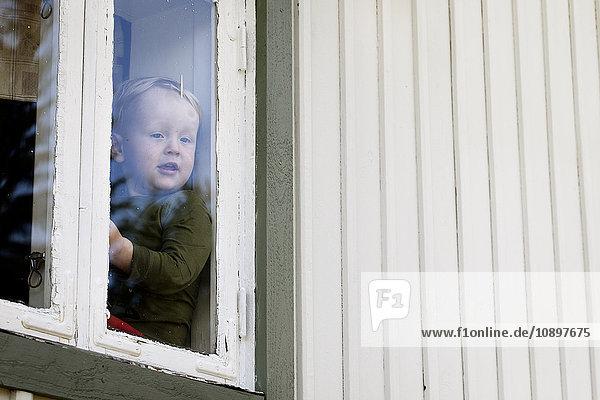 Schweden  Harjedalen  Ytterberg  Boy (2-3) durchs Fenster schauen