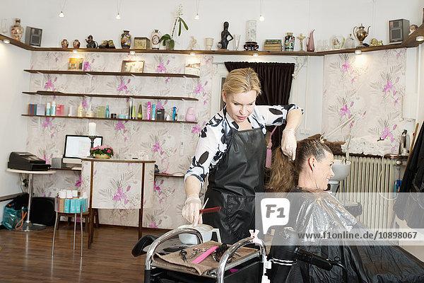 Schweden  Friseurin beim Färben von Kundenhaaren