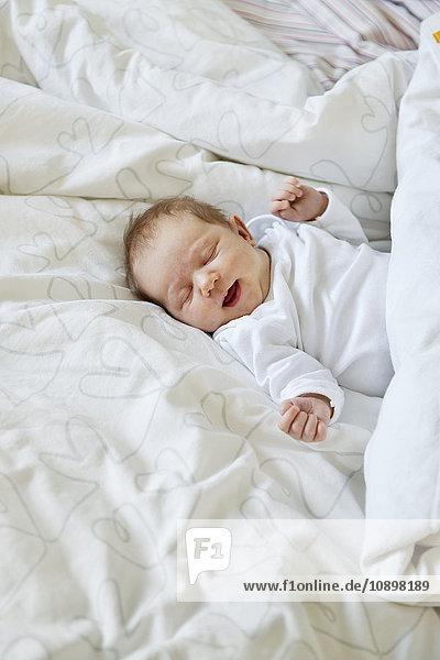 Schweden  Neugeborenes Mädchen (0-1 Monate) im Bett liegend