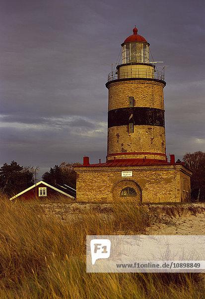 Sweden  Skane  Skanor Falsterbo  Lighthouse at autumn evening
