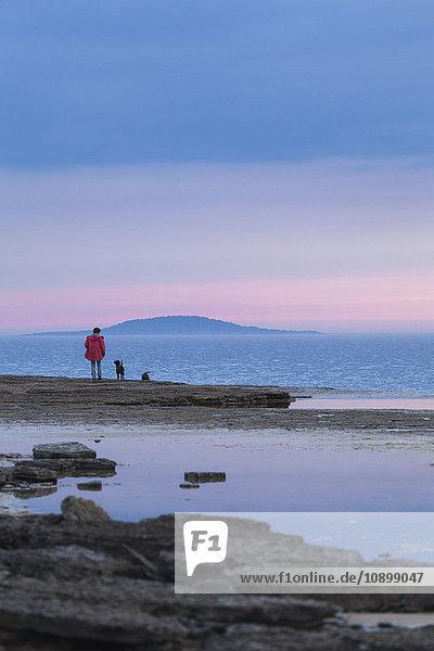 Schweden  Oland  Frau mit Hund am Ufer stehend