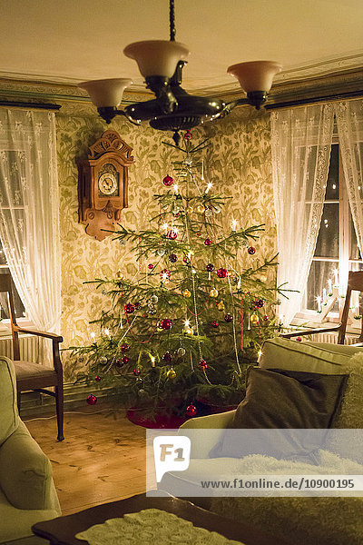 Sweden  Illuminated Christmas tree in living room