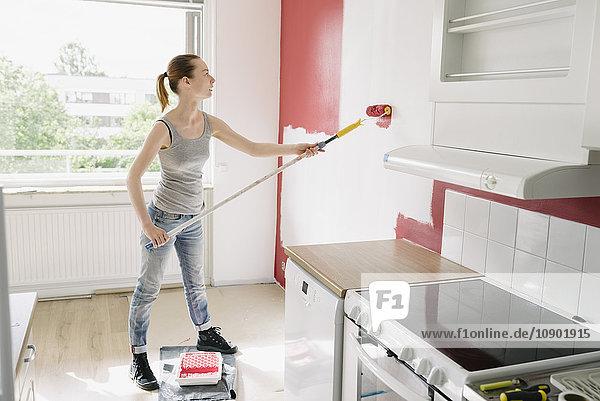 Schweden  Frau malt Wand in Küche