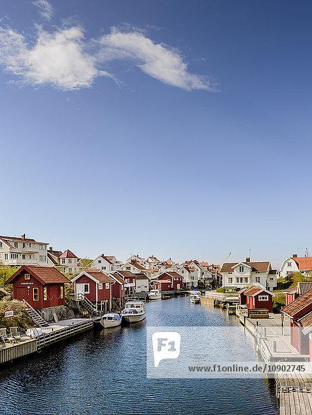 Sweden  West Coast  Bohuslan  Grundsund  View of fishing village and canal