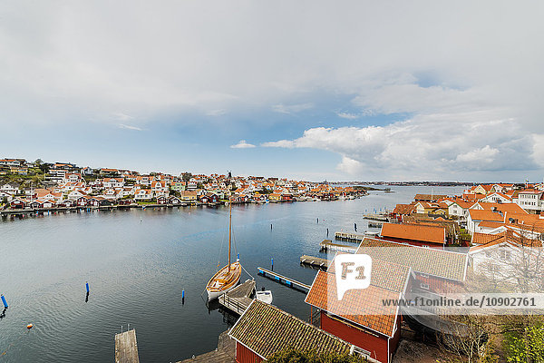 Sweden  West Coast  Bohuslan  Fiskebackskil  Aerial view of fishing village