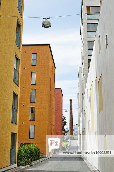 Finnland  Uusimaa  Helsinki  Sornainen  Bunte Gebäude in Wohngebieten