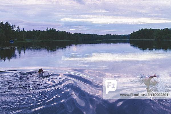 Finnland  Etela-Savo  Huttula  Saimensee  Zwei Frauen schwimmen abends im See