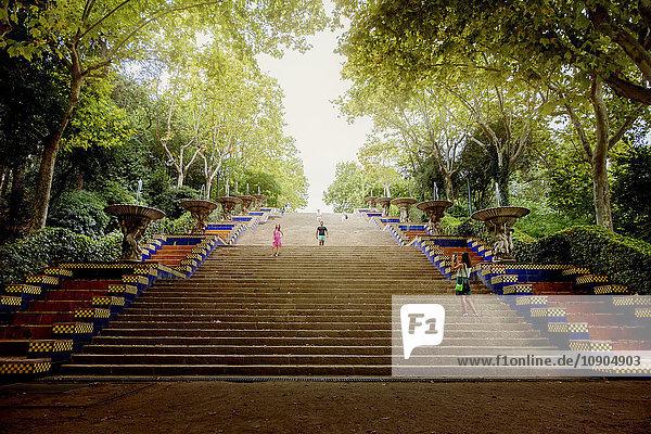 Spanien  Barcelona  Placa de les Cascades  Passeig de Jean Forestier  Treppenansicht im Park