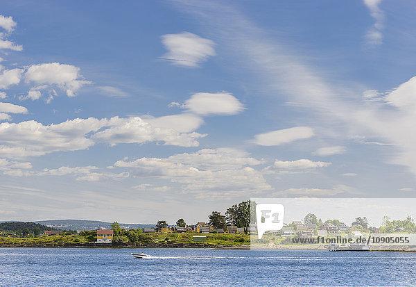 Norwegen  Oslo  Motorboot auf See