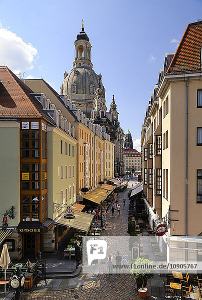 Germany  Saxony  Dresden  alley Muenzgasse and Church of Our Lady